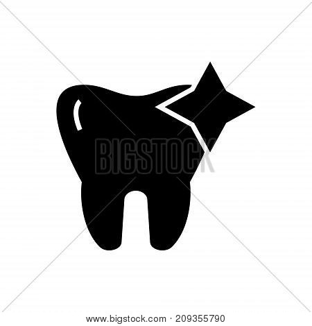 tooth with shine - cleaned icon, illustration, vector sign on isolated background