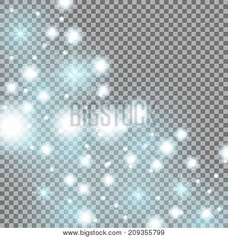 Star way with sparkles on transparent background glitter stars aqua color
