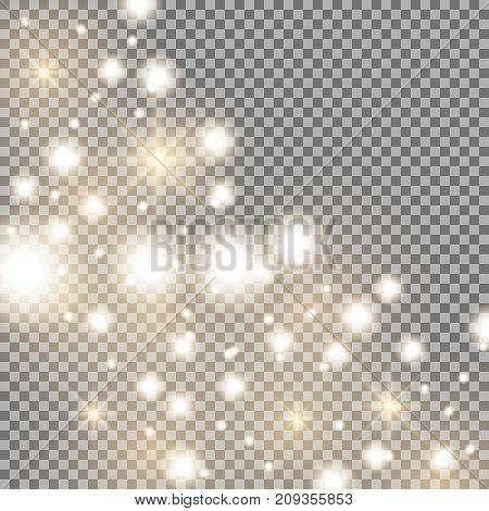 Star way with sparkles on transparent background glitter stars golden color