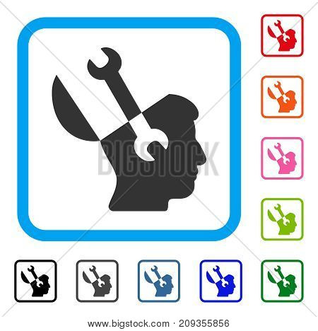 Mind Wrench Tools icon. Flat grey iconic symbol in a light blue rounded squared frame. Black, gray, green, blue, red, orange color versions of Mind Wrench Tools vector.