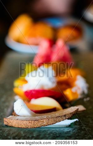 Close up of fresh tropical fruits and berries