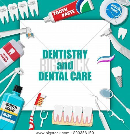 Dental cleaning tools. Oral care and hygiene products. Toothbrush, toothpaste, mouthwash, tongue brush, powder, tongue scraper and dental floss. Brushing teeth. Vector illustration in flat style poster