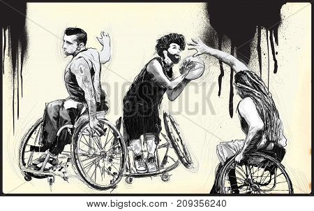 WHEELCHAIR BASKETBALL. From the series SILENT HEROES - Athletes with physical disabilities. An hand drawn vector. Note - Any accurate photo original for this picture original is created by me.