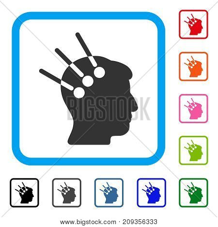 Neural Interface icon. Flat gray iconic symbol inside a light blue rounded rectangle. Black, gray, green, blue, red, orange color variants of Neural Interface vector.
