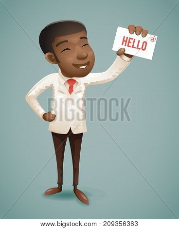 Suit European Afro African American Businessman Character Presentation Call Demonstration Card Greeting Banking Vintage Hand Icon Retro Cartoon Design Vector Illustration