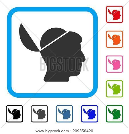Open Brain icon. Flat gray iconic symbol inside a light blue rounded rectangular frame. Black, gray, green, blue, red, orange color additional versions of Open Brain vector.
