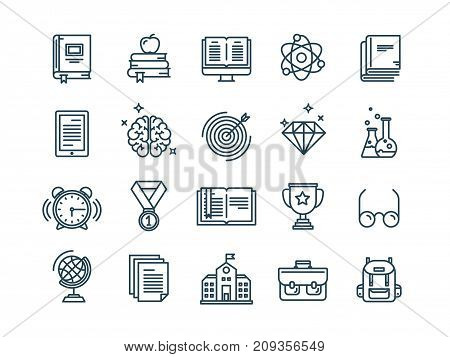 School education, university. Study, learning process. Online lessons, tutorial. Student knowledge. History book.Thin line web icon set. Outline icons collection.Vector illustration.