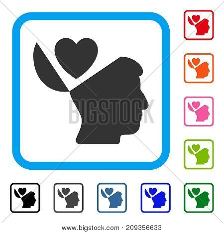 Open Mind Love Heart icon. Flat grey pictogram symbol in a light blue rounded frame. Black, gray, green, blue, red, orange color additional versions of Open Mind Love Heart vector.