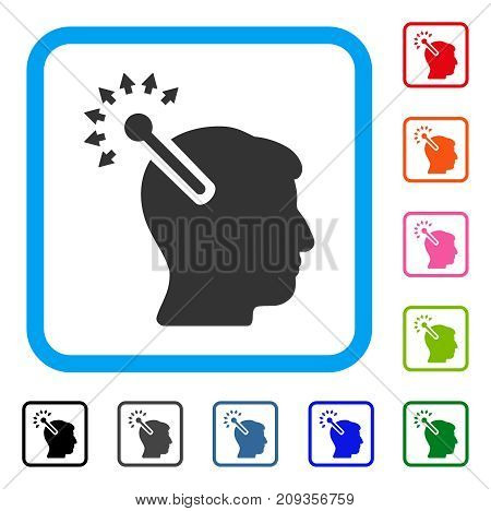 Optical Neural Interface icon. Flat grey pictogram symbol in a light blue rounded rectangle. Black, gray, green, blue, red, orange color versions of Optical Neural Interface vector.