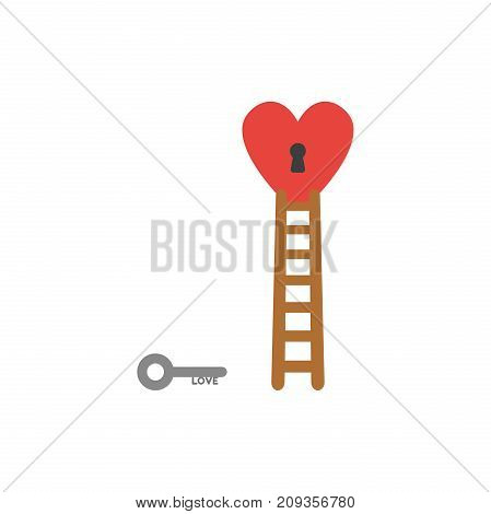 Flat design style vector illustration concept of grey love key reach to black keyhole in red heart symbol icon with brown wooden ladder on white background.