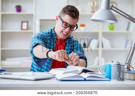 Young teenager preparing for exams studying at a desk indoors