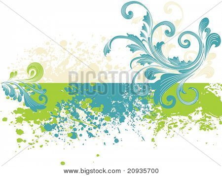 poster of colorful grunge with creative floral pattern illustration