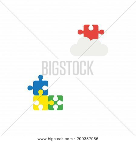 Flat Design Style Vector Concept Of Three Puzzle Pieces And Missing Puzzle Piece On Cloud