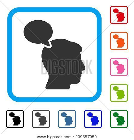 Person Opinion icon. Flat grey pictogram symbol in a light blue rounded frame. Black, gray, green, blue, red, orange color versions of Person Opinion vector. Designed for web and app UI.