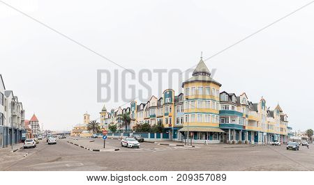 SWAKOPMUND NAMIBIA - JUNE 30 2017: A street scene with apartments and businesses in Swakopmund on the Atlantic Coast of Namibia