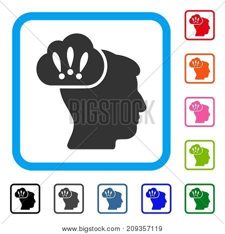 Problem Brainstorm icon. Flat gray iconic symbol inside a light blue rounded square. Black, gray, green, blue, red, orange color versions of Problem Brainstorm vector.