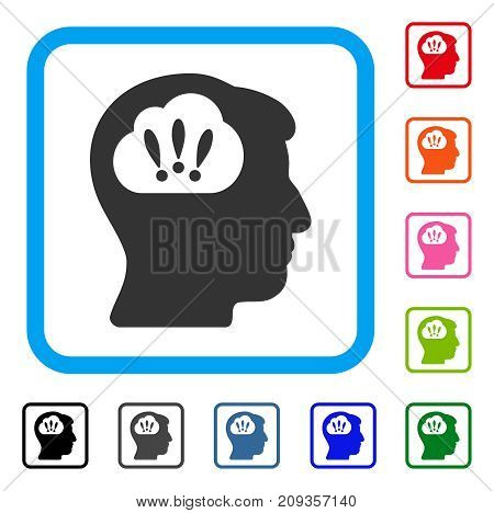 Problem Brainstorm icon. Flat gray pictogram symbol in a light blue rounded rectangle. Black, gray, green, blue, red, orange color variants of Problem Brainstorm vector. Designed for web and app UI.