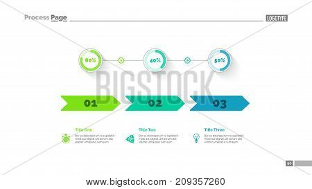 Three options percentage chart slide template. Business data. Arrow, diagram, design. Creative concept for infographic, presentation. Can be used for topics like marketing, statistics, finance.