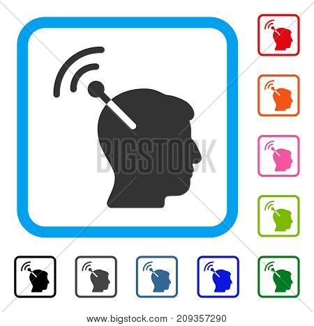 Radio Neural Interface icon. Flat grey iconic symbol in a light blue rounded rectangular frame. Black, gray, green, blue, red, orange color versions of Radio Neural Interface vector.