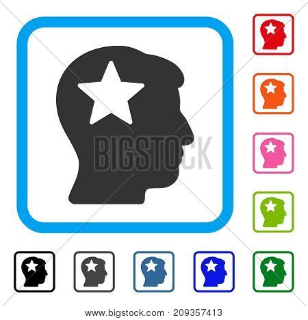 Star Head icon. Flat grey pictogram symbol inside a light blue rounded rectangle. Black, gray, green, blue, red, orange color additional versions of Star Head vector.