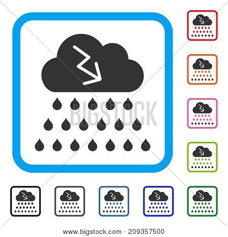 Thunderstorm Rain Cloud icon. Flat gray pictogram symbol inside a light blue rounded square. Black, gray, green, blue, red, orange color variants of Thunderstorm Rain Cloud vector.