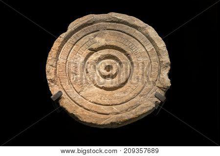 JERUSALEM, ISRAEL - OCTOBER 13 2017: Stone Sundial from Qumran site. Israel Museum Jerusalem. Israel.