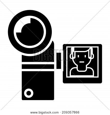 video camera icon, illustration, vector sign on isolated background