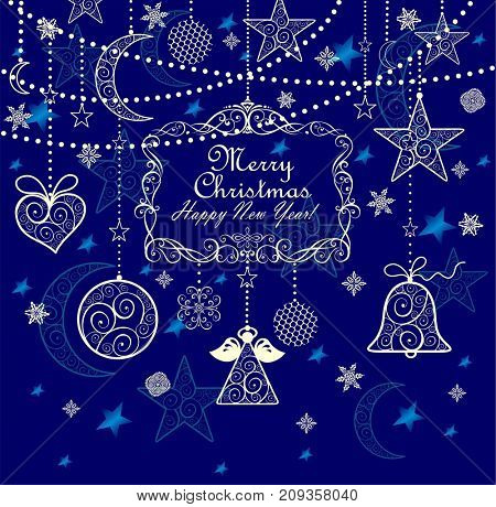 Vintage greeting blue card with golden lacy hanging decoration for 2018 New year