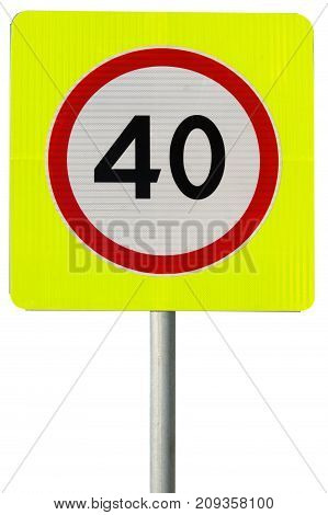 40 speed limit sign isolated on white