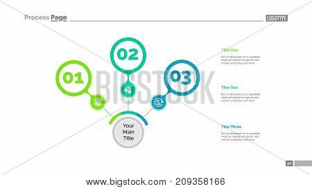 Three steps process chart slide template. Business data. Review, step, design. Creative concept for infographic, presentation, report. Can be used for topics like marketing, teamwork, production.