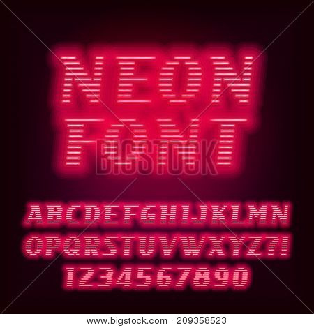 Red neon tube alphabet font. Neon color oblique letters and numbers. Stock vector typeset for your headers or any typography design.