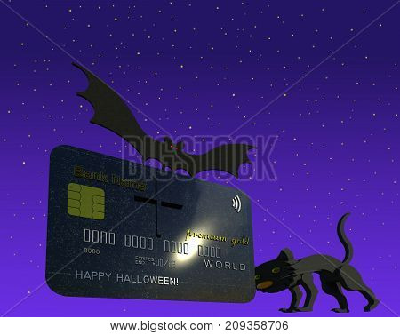 Happy Halloween card as bank card, credit card, as tombstone, grave stone 3D illustration. Black humor, black cat, night sky, flying bat. Collection.