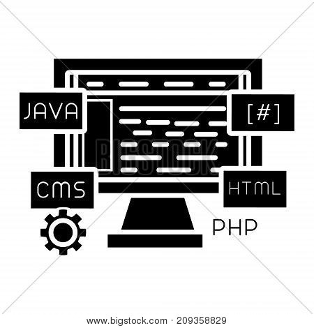 web development icon, illustration, vector sign on isolated background