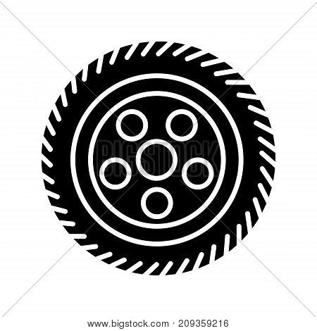 wheel car icon, illustration, vector sign on isolated background