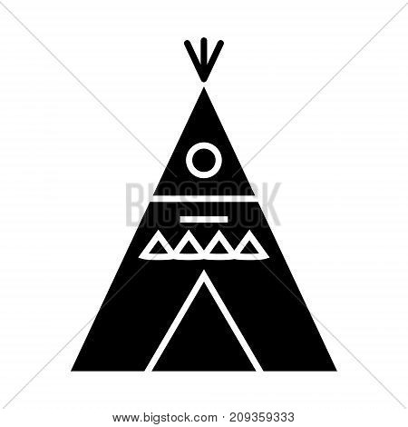 wigwam - decorated icon, illustration, vector sign on isolated background