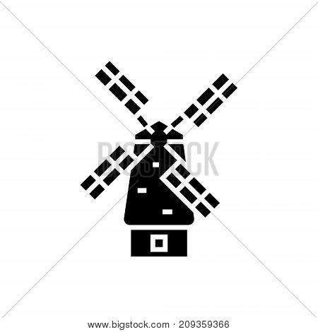 windmill icon, illustration, vector sign on isolated background
