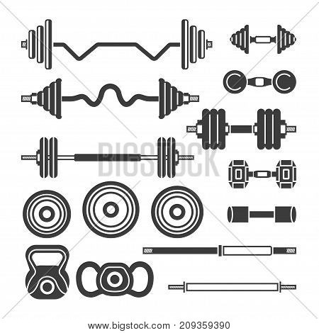 Set of gym equipment - modern vector monochrome isolated clip art isolated on white background. Barbells, power lifter, hand weights. Fitness, sport, power, healthy lifestyle concept. Vintage style