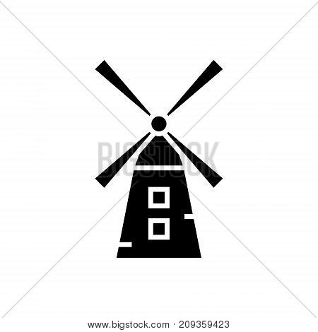 small windmill  icon, illustration, vector sign on isolated background