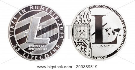 Silver colored souvenir coin Litecoins - international virtual cryptocurrency. Isolated on white.