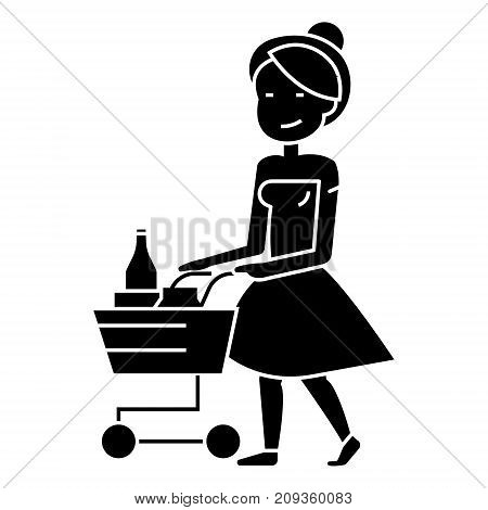 woman shopping in supermarket with cart icon, illustration, vector sign on isolated background