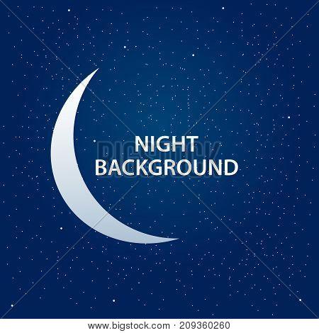 Night sky background with half moon and stars. Moonlight night vector illustration