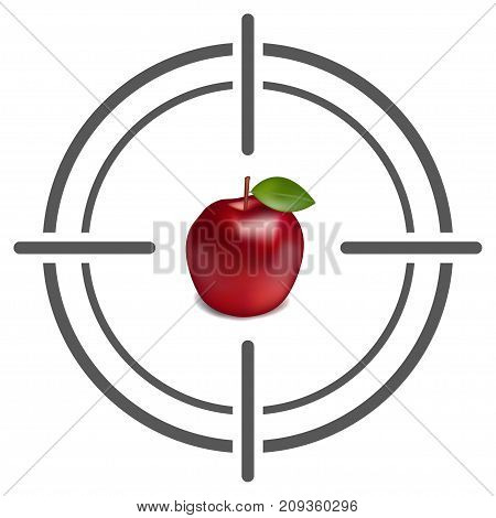 Abstract target icon with apple. Target icon Image. Flat target icon. Target icon goal vector illustration
