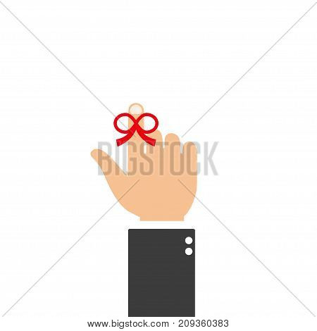 Finger wrapped with red ribbon - reminder string poster isolation on a white background