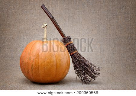 Broom Witch And Ripe Pumpkin For Halloween