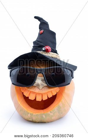 Jack Lantern Carved From A Pumpkin For A Halloween, In Sunglasses