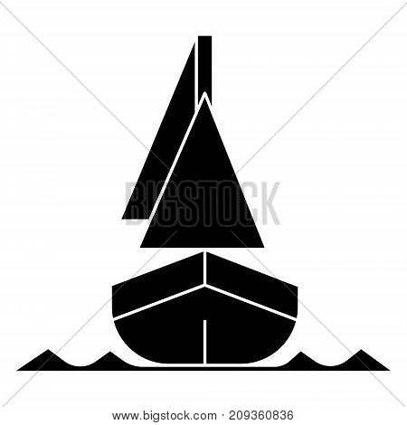 yacht front veiw icon, illustration, vector sign on isolated background