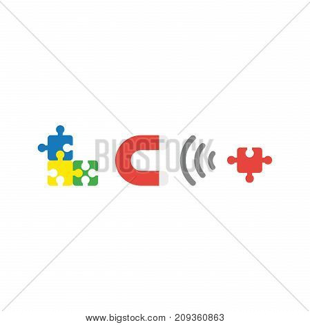 Flat Design Style Vector Concept Of Three Puzzle Pieces Connected And Magnet Attracting Missing Puzz