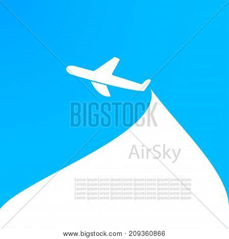 Background with airplane airplane logo for the company on a blue background