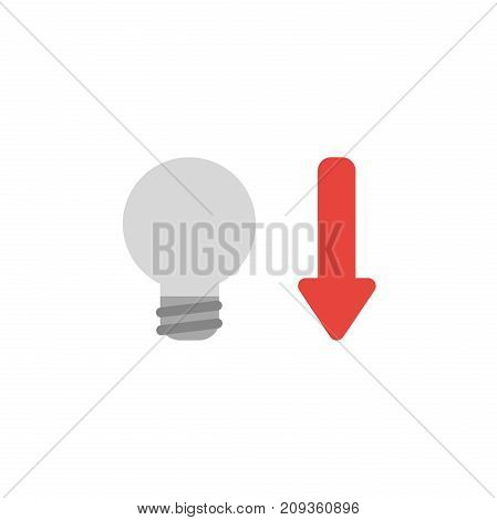 Flat Design Style Vector Concept Of Grey Light Bulb With Arrow Down