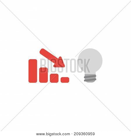 Flat Design Style Vector Concept Of Sales Bar Moving Down With Grey Bad Idea Light Bulb